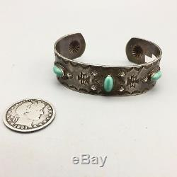 Fred Harvey Era Hand Stamped, Coin Silver, Natural Turquoise Cuff Bracelet