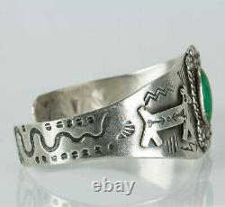 Fred Harvey Era Hopi Sterling Silver Applied Horse Stamped Cuff Bracelet