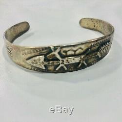 Fred Harvey Era Horse Donkey Dog Sterling Silver Fine Cuff Bracelet 24 Grams