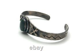 Fred Harvey Era Horseshoe Arrows Turquoise Sterling Silver Stamped Cuff Bracelet