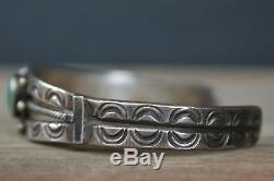 Fred Harvey Era INGOT Navajo Sterling Silver Green Turquoise Bracelet