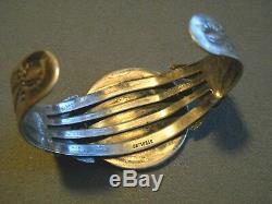 Fred Harvey Era Indian Morgan Silver Dollar Coin Sterling Silver Cuff Bracelet