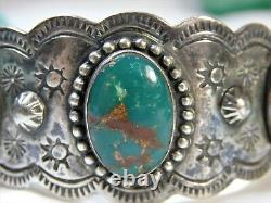 Fred Harvey Era NATIVE AMERICAN Natural CERRILLOS TURQUOISE STERLING SIlver CUFF