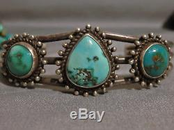 Fred Harvey Era NATIVE American Natural NEVADA TURQUOISE STERLING Silver CUFF