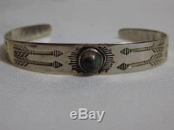 Fred Harvey Era NAVAJO CERRILLOS TURQUOISE Coin SILVER WHIRLING LOGS Bracelet