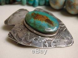 Fred Harvey Era NAVAJO Kingman TURQUOISE STERLING Silver ARROW Totem PIN Pendant