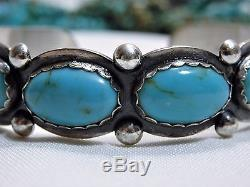 Fred Harvey Era NAVAJO Maisels BLUE GEM TURQUOISE Stamped STERLING Silver CUFF