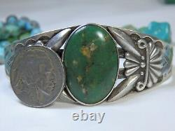 Fred Harvey Era NAVAJO Maisels CERRILLOS TURQUOISE Coin SILVER Repousse CUFF
