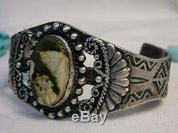 Fred Harvey Era NAVAJO Maisles ROYSTON TURQUOISE STERLING Silver 44G Cuff snd