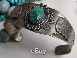 Fred Harvey Era NAVAJO NEVADA TURQUOISE Coin 90% SILVER Snake CHIEF Totem CUFF