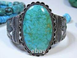 Fred Harvey Era NAVAJO Natural CERRILLOS TURQUOISE STERLING Silver 54g Cuff