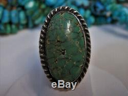Fred Harvey Era NAVAJO Natural CERRILLOS TURQUOISE Stmpd STERLING Silver RING s7