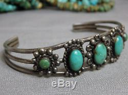 Fred Harvey Era NAVAJO Natural NEVADA TURQUOISE STERLING Silver CUFF Bracelet 7