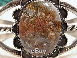 Fred Harvey Era NAVAJO Natural PETRIFIED WOOD Stamped STERLING Silver 43G CUFF