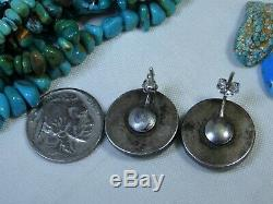 Fred Harvey Era NAVAJO Naturl CARICO LAKE TURQUOISE Coin SILVER Post EARRINGS