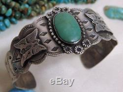 Fred Harvey Era NAVAJO Nevada TURQUOISE STERLING Silver BUTTERFLY Totem Bracelet