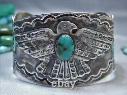 Fred Harvey Era NAVAJO Nevada TUURQUOISE Coin SILVER ThunderBird 50gm CUFF