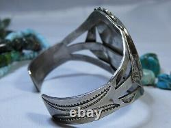Fred Harvey Era NAVAJO Petrfied WOOD Stampd Coin SILVER 49gm CUFF 2wide face