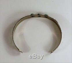 Fred Harvey Era NAVAJO Sterling Silver Snake Eye Turquoise Bracelet / Cuff