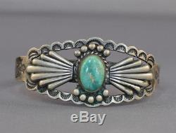Fred Harvey Era Native American Indian Handmade Coin Silver Bracelet Turquoise