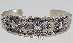 Fred Harvey Era Native American Navajo IH COIN SILVER Stamp Work Cuff Bracelet