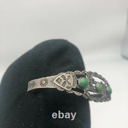 Fred Harvey Era Native American Navajo Silver Turquoise Dog Horse Cuff Bracelet