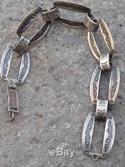 Fred Harvey Era Native American Navajo Sterling Silver Link Bracelet