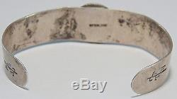 Fred Harvey Era Native American Navajo Sterling Silver Three Stone Cuff Bracelet