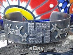 Fred Harvey Era Native American Navajo Sterling Silver Whirling Logs Bracelet