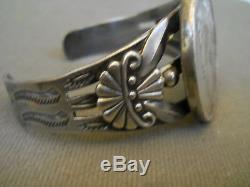 Fred Harvey Era Native American Peace Silver Dollar Sterling Silver Bracelet