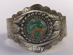 Fred Harvey Era Native American Sterling Kachina Royston Turquoise Cuff Bracelet