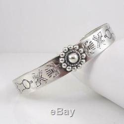 Fred Harvey Era Native American Sterling Silver Arrow Flower Cuff Bracelet LFK4