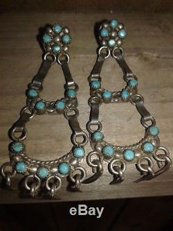 Fred Harvey Era Native American Sterling Silver & Turquoise Chandelier Earrings
