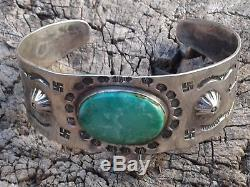 Fred Harvey Era Native American Whirling Log Sterling Silver & Turquoise Cuff