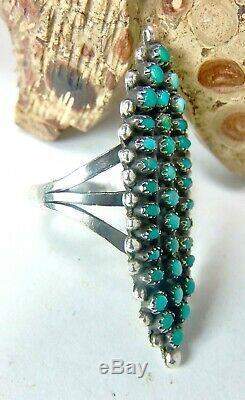 Fred Harvey Era Native American Zuni Petite Point Snake Eye Silver Cluster Ring7