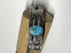 Fred Harvey Era Natural Turquoise Sterling Silver Cuff Bracelet VTG Miller Keep