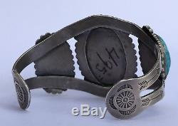 Fred Harvey Era Navajo Bisbee Turquoise Sterling Silver Stamped Cuff Bracelet