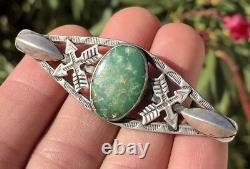 Fred Harvey Era Navajo CERRILLOS Royston Turquoise & Sterling Silver Brooch Pin