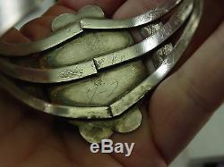 Fred Harvey Era Navajo Coin Silver Arizona Rainbow Petrified Wood Cuff Bracelet