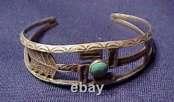 Fred Harvey Era Navajo Coin Silver Sterling Whirling Logs Turquoise Bracelet