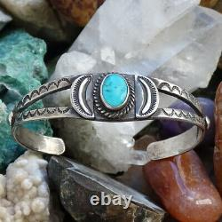Fred Harvey Era Navajo Cuff Bracelet Turquoise Sterling Silver Stamp Decorated