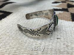 Fred Harvey Era Navajo Green Turquoise Silver Bracelet Native American Indian
