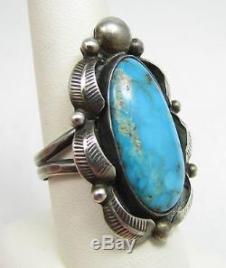 Fred Harvey Era Navajo Natural Turquoise Feather Sterling Silver 1.5 Ring 9.5