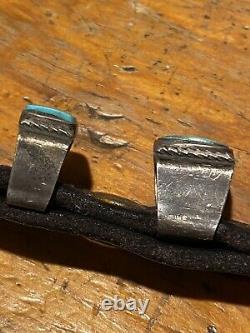 Fred Harvey Era Navajo Ranger Belt Buckle Set Keepers Tip Turquoise Silver Belt