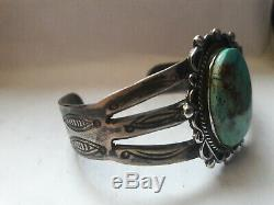 Fred Harvey Era Navajo Royston Turquoise Sterling Silver Cuff Bracelet 35.3 gram