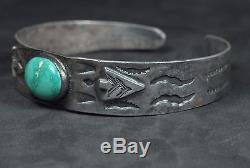 Fred Harvey Era Navajo Silver Turquoise Arrowhead Applied Design Cuff Bracelet