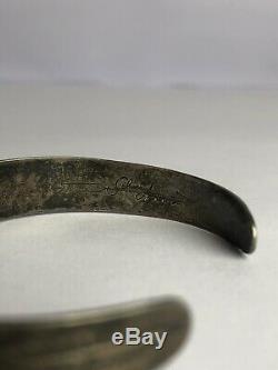 Fred Harvey Era Navajo Silver Turquoise Silver Arrow Rattlesnake Cuff Bracelet
