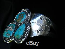 Fred Harvey Era Navajo Sterling Silver Bisbee Turquoise Cuff Bracelet