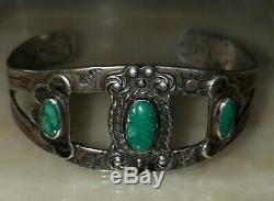 Fred Harvey Era Navajo Sterling Silver Cerrillos Turquoise Snakes Arrows Cuff