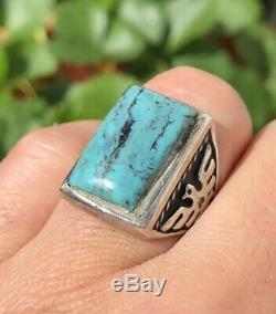 Fred Harvey Era Navajo Sterling Silver Kingman Turquoise Thunderbird Men's Ring